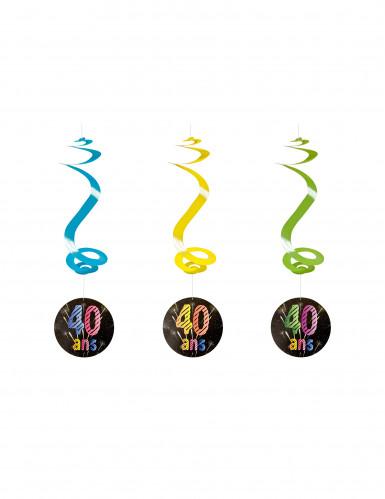 4 suspensions spirale 40 ans Feux d'artifice 60 cm