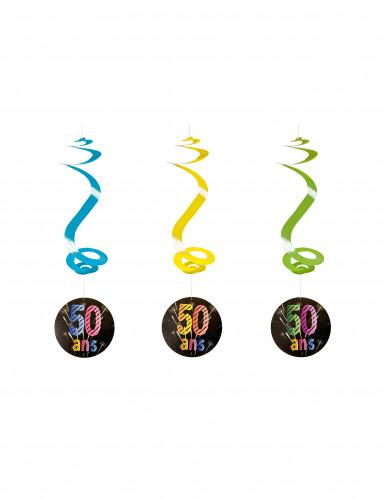 4 suspensions spirale 50 ans Feux d'artifice 60 cm