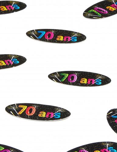 80 Confettis de table papier 70 ans Feux d'artifice