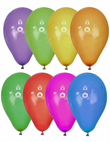 8 Ballons imprimé princesse coloris assortis