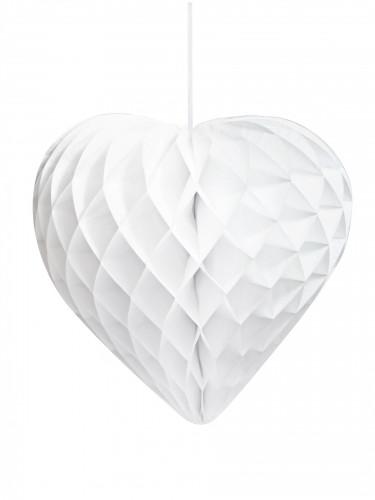 Cœur en papier alvéolé blanc 30 cm