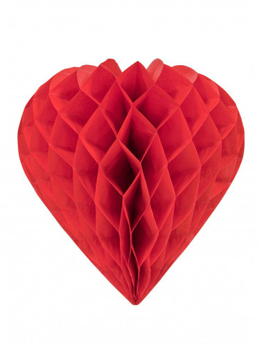 Coeurs en papier alévolé rouge 30 cm