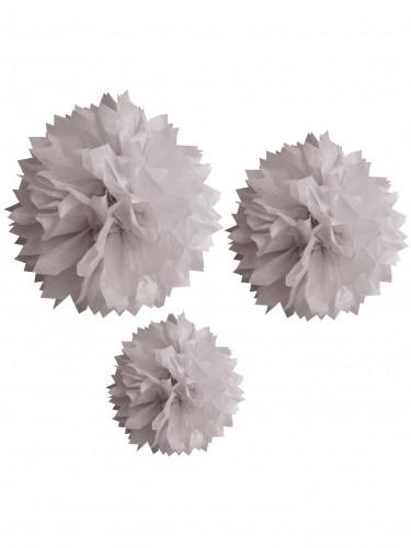 3 Ponpoms en papier gris 20, 30 et 40 cm