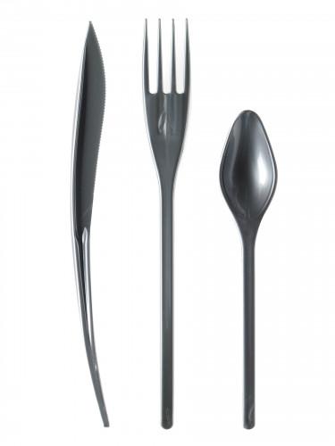 30 Couverts en plastique gris argent - Premium
