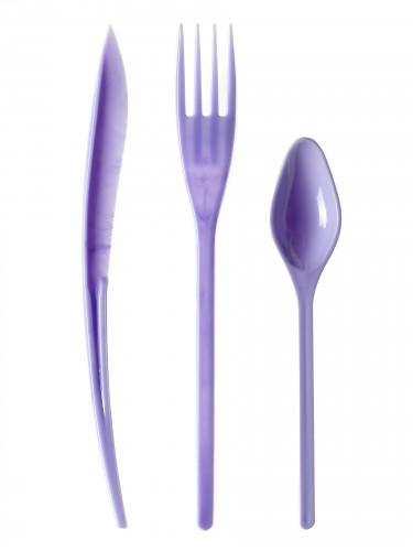 30 Couverts en plastique lilas