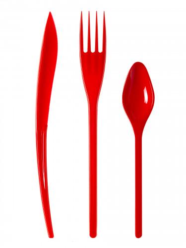 30 Couverts en plastique rouge