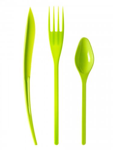 30 Couverts en plastique vert anis