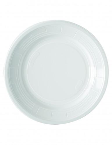 50 assiettes en plastique blanc 22 cm