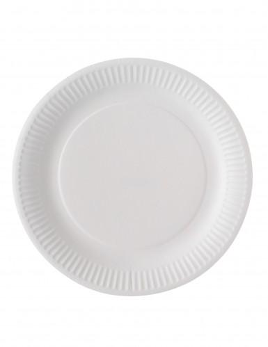 100 assiettes carton blanc biodégradable 23 cm