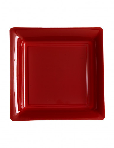 12 Petites assiettes carrées en plastique bordeaux 18 cm