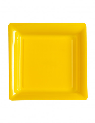 12 Petites assiettes carrées en plastique jaune 18 cm