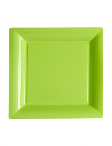 12 Petites assiettes carrées en plastique vert 18 cm