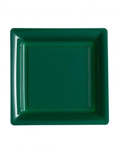 12 Petites assiettes carrées en plastique vert sapin 18 cm