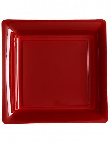 12 Assiettes carrées en plastique bordeaux 23.5 cm