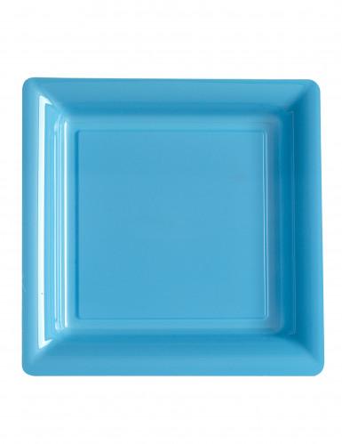 12 assiettes carrées en plastique bleu 23,5 cm