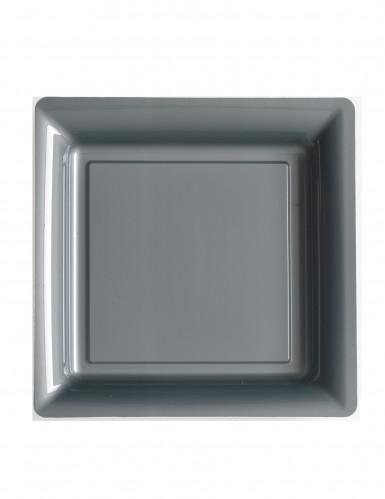 12 Assiettes carrées plastique gris argent 23,5 cm