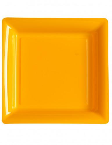 12 Assiettes carrées en plastique orange 23,5 cm