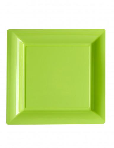 12 Assiettes carrées en plastique vert anis 23,5 cm