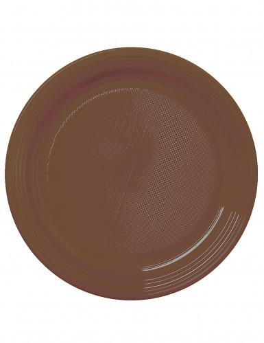 50 Assiettes à dessert en plastique chocolat 17 cm