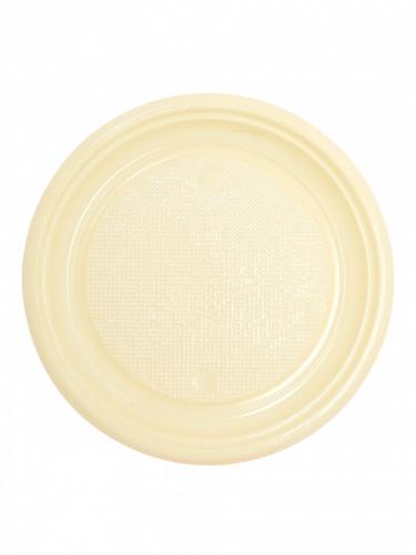 50 Assiettes à dessert en plastique ivoire 17 cm
