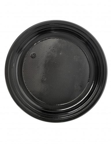 50 Petites assiettes en plastique noir 17 cm