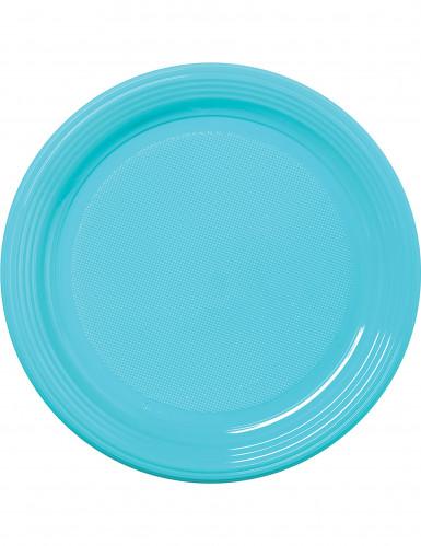 30 assiettes en plastique bleu pastel 22 cm