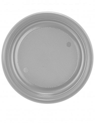 30 assiettes en plastique gris argent 22 cm