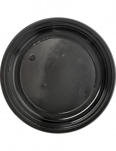 30 assiettes en plastique noir 22 cm