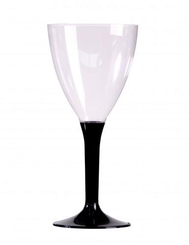 10 Verres a vin pied noir en plastique