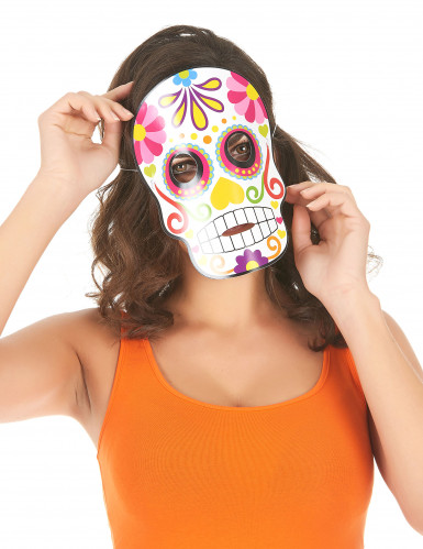 3 Masques en cartons assortis Dia de los muertos adulte Halloween-1