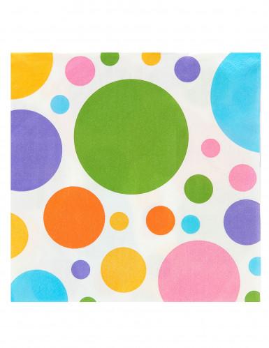 20 Serviettes en papier pois colorés 33 x 33 cm