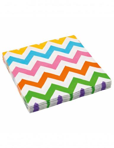 20 Serviettes en papier chevron coloré 33 x 33 cm