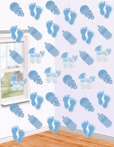 6 Suspensions bleues Baby Shower 215 cm