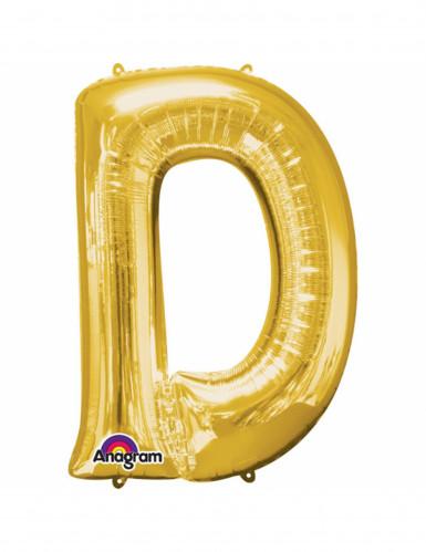 Ballon aluminium Lettre D doré 33 cm