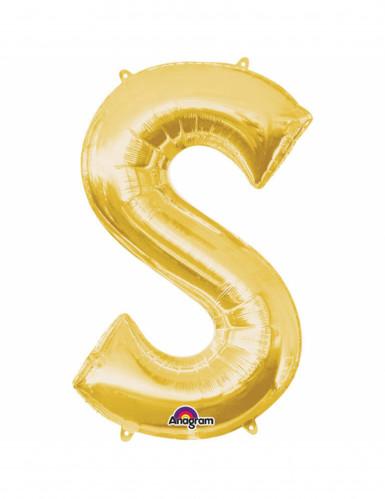 Ballon aluminium Lettre S doré 33 cm