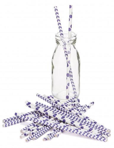 24 pailles motifs chevron et pois violet-1