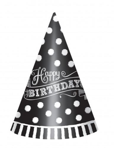 12 Chapeaux de fête Noir et blanc