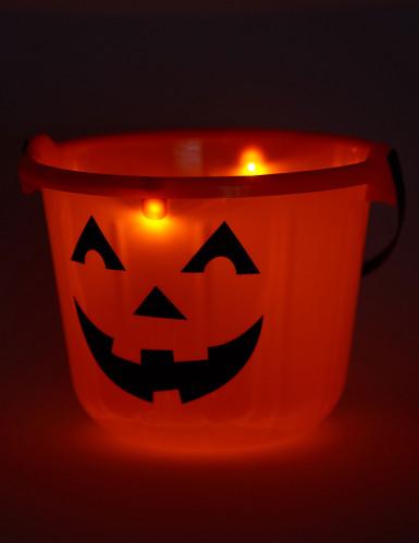 Seau citrouille à LED 22 x 17 cm Halloween-1
