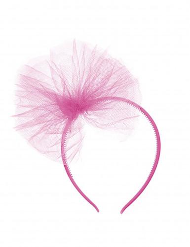 Serre-tête noeud en tulle rose