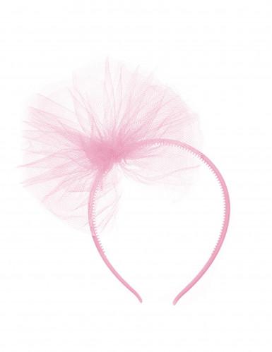 Serre-tête noeud en tulle rose clair fille
