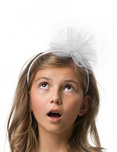 Serre-tête noeud en tulle blanc fille-1