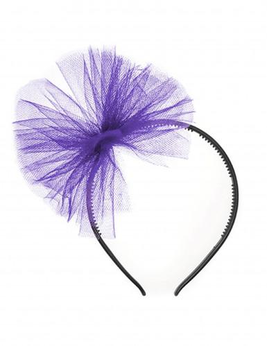 Serre-tête nœud en tulle violet