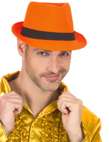 Chapeau borsalino orange bande noire adulte-2