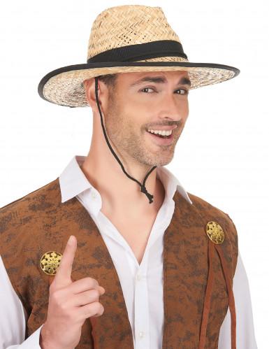 Chapeau Cowboy avec bande et rebord noirs adulte-1