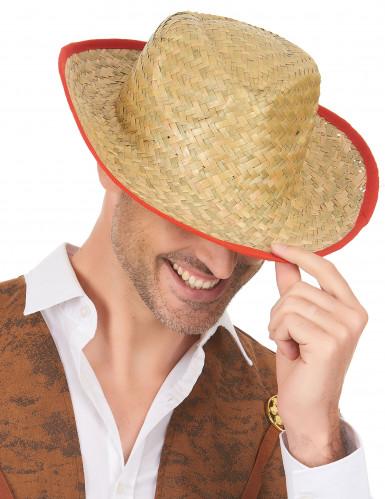 Chapeau Cowboy avec rebord rouge adulte-1