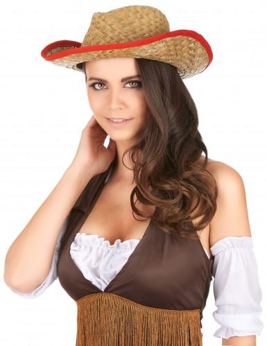 Chapeau Cowboy avec rebord rouge adulte-2