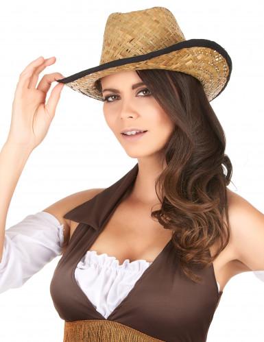 Chapeau Cowboy avec rebord noir adulte-2