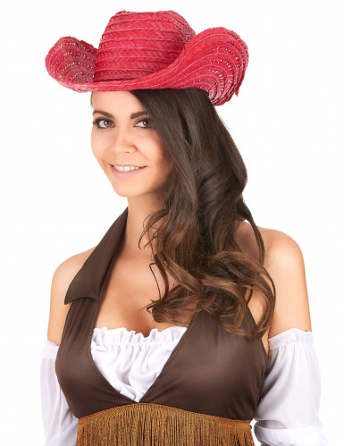 Chapeau Cowboy rose adulte-1