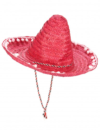 Sombrero rouge à bordure pompons adulte