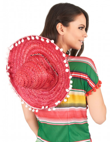 Sombrero rouge à bordure pompons adulte-2